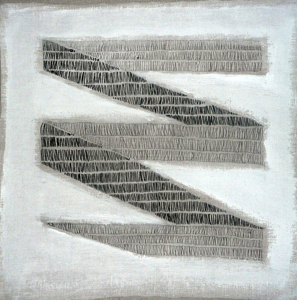 nr 6 - Z.T. met d.m.c. garen geborduurd op schilderslinnen met gesso bewerkt. afm. 39-39 cm.