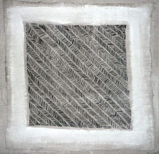 nr 5 - Z.T. met d.m.c.garen geborduurd op schilderslinnen met gesso bewerkt. afm. 43-43 cm.