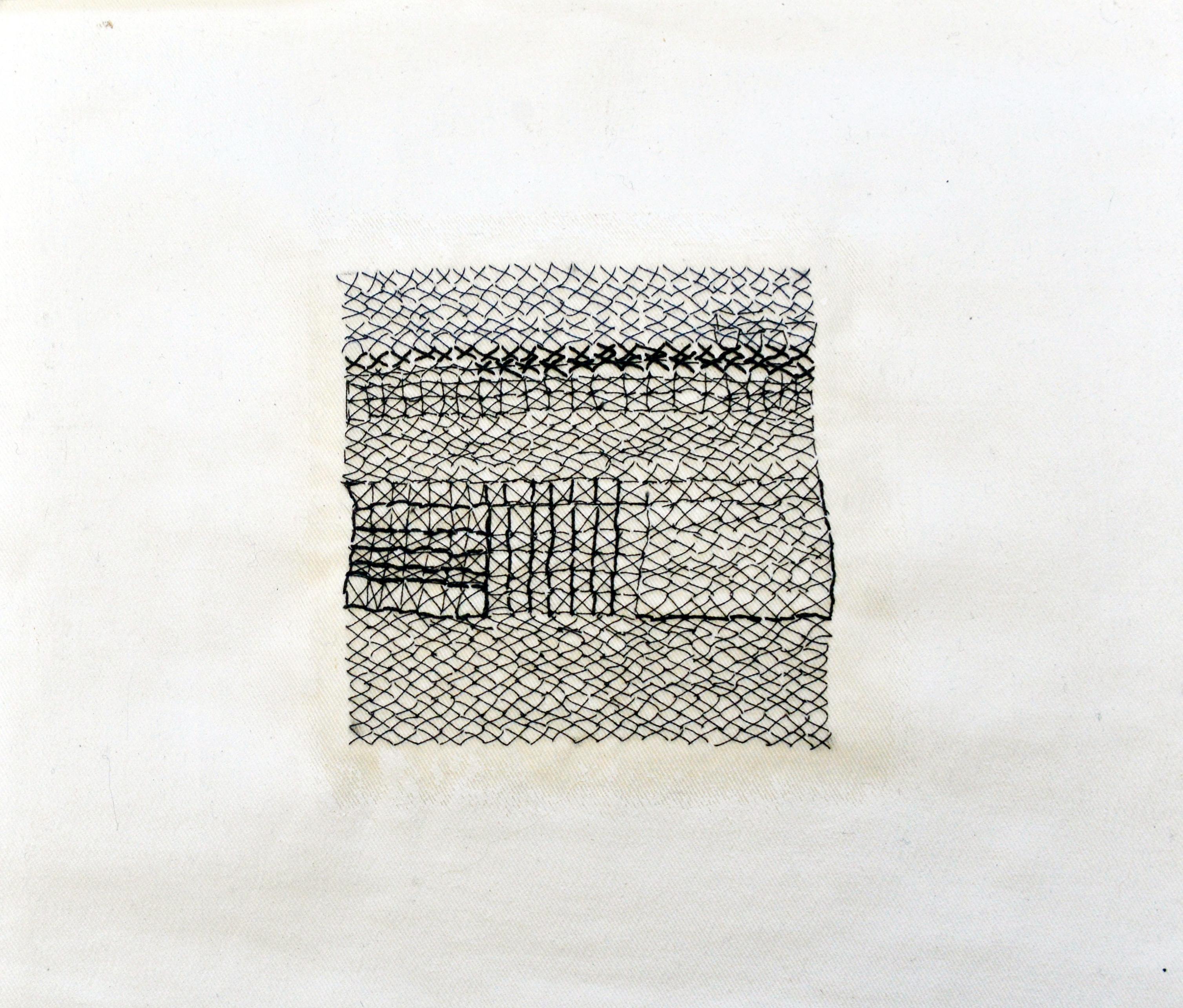 nr 1 - Z.T. borduurwerk op grafiek geinspireerd afm. 26-26 cm.