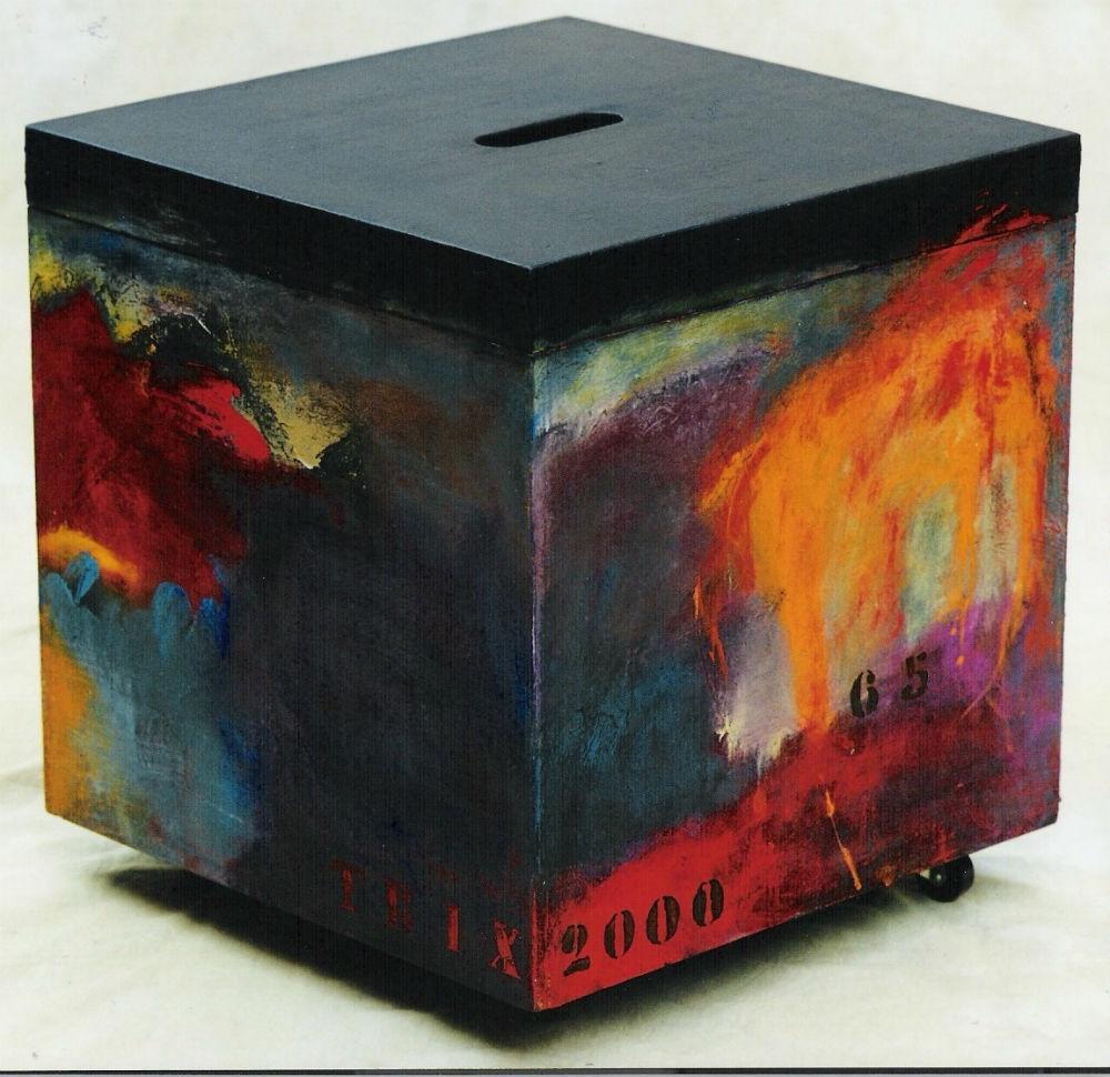 nr. 19 - Houten kist acryl op hout - cadeau gedaan.