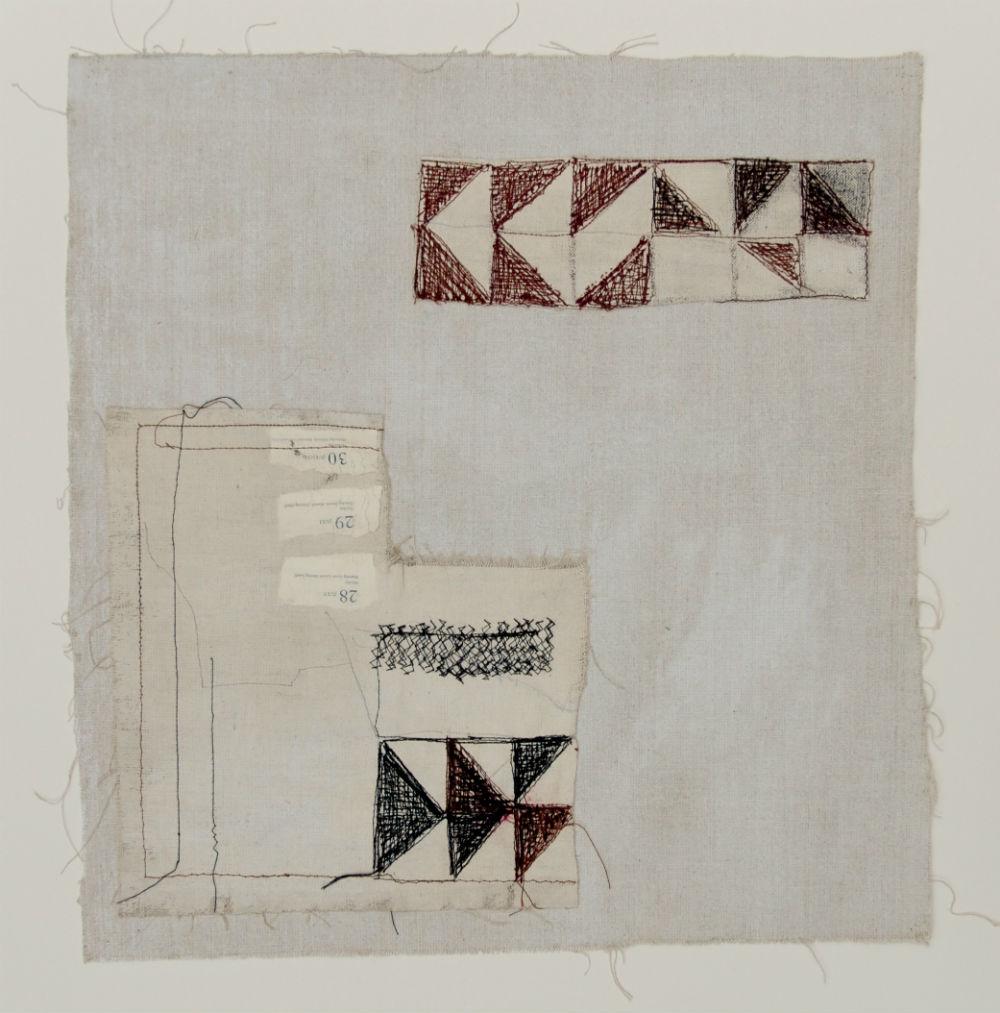 nr 4 - Z.T. - Textiel-gemengde techniek afm. ingelijst 55-55 cm.
